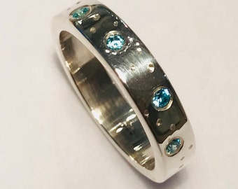 Blue Topaz Solid Silver Dotty Ring