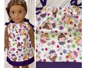 "18"" Doll Clothes/Doll Pillowcase Dress/American Girl Dress/Ballerina Wishes"