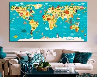 Kids World Map Wall Decor Kids World Map Wall Art Nursery Map Kids World Map Print Kids World Map Canvas Nursery World Map Nursery Decor
