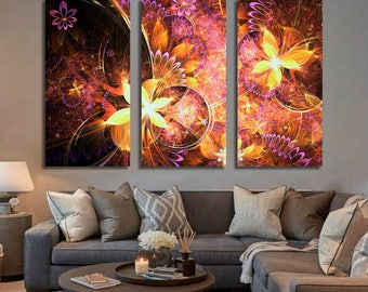 Golden fractal flowers Wall Art 463