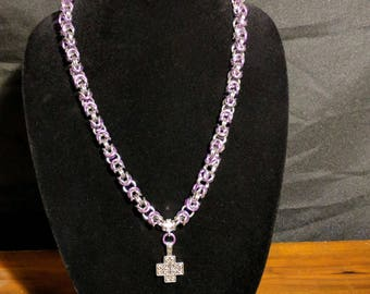 Purple and Silver Byzantine Chainmaille Necklace