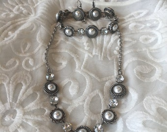 Pearl and clear Swarovski crystal necklace