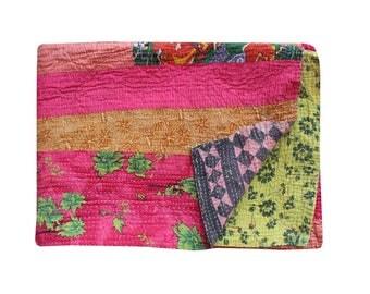 Vintage Stripe Design Kantha Quilt Handmade Kantha Blanket Reversible Cotton Sari Patchwork Kantha Bedspread Twin Size Kantha Throw