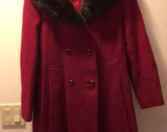 50 60s Red Wool Coat Fur Collar