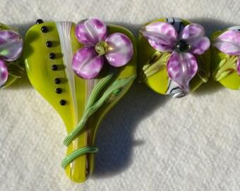 Artisan Lamp Work Pendant & Bead Set Lot 5