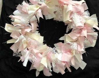 Pink & White Rag Wreath