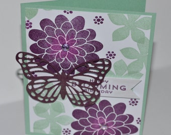Hand Stamped Blooming Butterfly Birthday Card