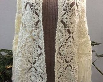Handmade crochet off-white shawl (with a hint of a shine in the yarn)
