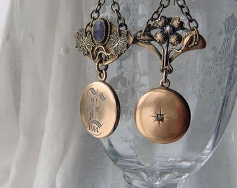 Assemblage Earrings Mismatched Locket Victorian Edwardian Relic Brooch Findings One of a Kind Upcycled Gold Tone Earrings- Pandora Project