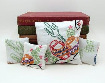 Sachet Gift Set - Cactus Sachet - Succulent - Dried Lavender Sachets - Embroidered Sachet - Desert - Southwest - Gardener Gift - Cacti