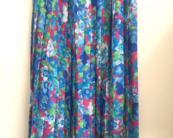 Floral Pleated Maxi Skirt Blue