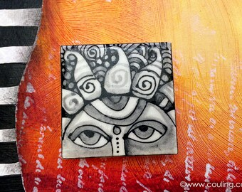 Sun Decoration -  Refrigerator Magnet Art - Clay / Pottery 2X2 Hand Painted Ceramic Tile by artist, Cindy Couling