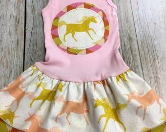 Girl's Tank Dress - Pink Unicorn - Infant Baby  Toddler Sun Dress