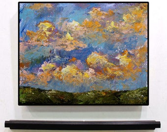 Orange Clouds, Blue Sky, Green Hills, Colorful, Texture, Original Painting, Landscape Painting, Home Decor, Office Art, Gift, Winjimir, Wall