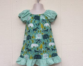 Northwoods Peasant Dress, Size 18 Months,  Cotton Dress, Northwoods Animals Dress, Moose, Fox, Polar Bear Dress