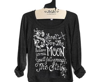 S or L- Charcoal Black Tri-Blend Sweatshirt with Shoot for the Moon Print