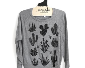 M- Sweatshirt Cactus Print -Gray Tri-Blend Womens Raglan Top