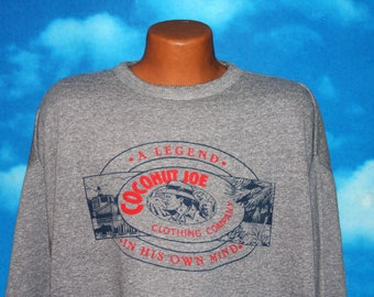 Coconut Joe Pullover Gray Sweatshirt Medium Vintage 1980s