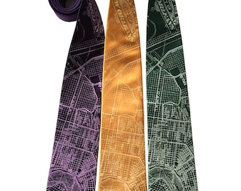 New Orleans Map Silk Necktie. NOLA vintage map print. Crescent City, Mississippi River bend. Your choice of colors.
