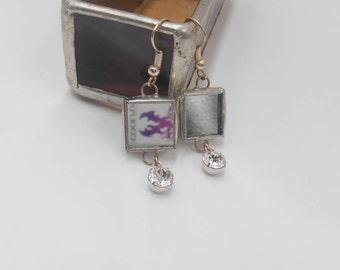 Glass Mirror drop earrings with swarvoski crystals