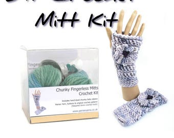 Crochet mitt kit, DIY fingerless mitts kit, mittens pattern, handdyed baby alpaca yarn, choose your color, crocheters gift, make it yourself