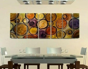 Large Gold, Orange & Purple Abstract Painting, Modern Metal Wall Art, Contemporary Home or Office Decor - Music of the Spheres by Jon Allen