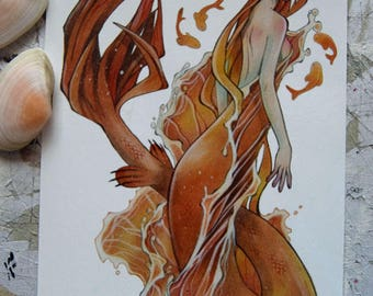 Postcard - Large - Art Card - Fairy Tale - Mermaid Art - Mermay - Siren - Sea - Anime - Traditional Art - Golden Fish