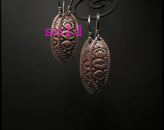 E1513B Copper Stamped Fish Marquise earrings
