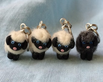 Woolly Sheep Stitch Markers (classic flock of 4)