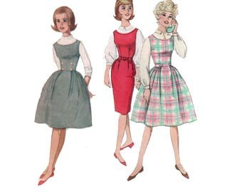60s uncut Wiggle Dress pattern vintage 33-26-36 Full Skirt Dress Cocktail Dress Jumper Dress pattern Simplicity 4020