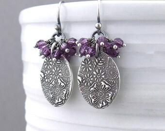 Purple Earrings Amethyst Cluster Earrings Drop Earrings Silver Jewelry Crystal Jewelry Beaded Jewelry Holiday Gift Ideas for Women - Lily
