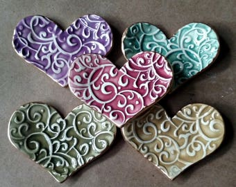 5 ceramic heart ring dishes Bridesmaid gifts wedding favors baby shower favors curly q itty bitty edged in gold