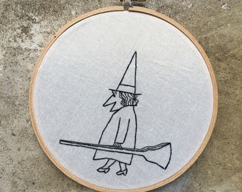 Ready to go - hand drawn, painted and embroidered hoop art wall hanging #witchaday 22/31