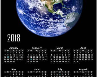 """Planet Earth From Space 2018 Full Year View 8"""" Calendar - Magnet or Wall #3840"""
