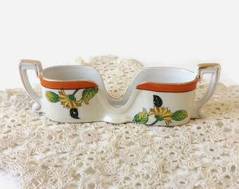 Noritake Spoon Holder Stack, Vintage Double Handled Caddy, Yellow Sunflowers with Orange & Gold Rim, Morimura Brothers Japan