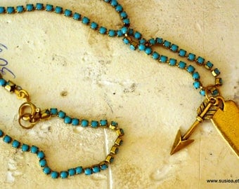 Heart and Arrow Cupid Love Blue Vintage Beaded Chain Necklace