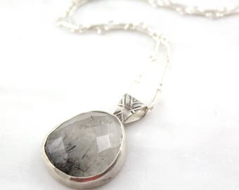 Tourmalinated Quartz Pendant with Stamped Bail Necklace