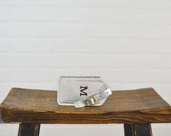Silver Leather Luggage Tag with Free Monogram - Personalized Travel Gift for Grad Woman Girlfriend Wife Sister Mom Bride Bridemaid