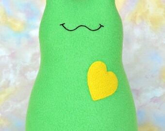 Handmade Slug, Stuffed Animal Plush Kids Baby Toddler Art Toy Doll, Hug Me Slug, Personalized Tag, Med Green, Lemon Yellow Fleece, 12 inch