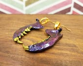 Blue-Violet & Gold Mink Jaw Bone Earrings