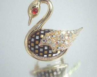 Large Vintage Swan Pin Brooch Rhinestone Checkerboard