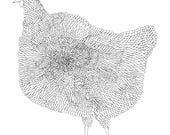 The Chicken Fine Art Archival Print of Original Pen and Ink Drawing