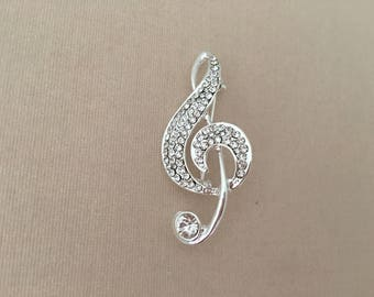 Silver Treble Clef Brooch.Treble Clef Brooch.Music brooch.Treble Clef Crystal Brooch.Treble Pin.Treble Clef Broach.Rhinestone.Marching Band