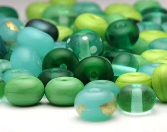 Handmade Lampwork Glass Bead Spacers Sale Destash Green Mix 81 Beads SRA