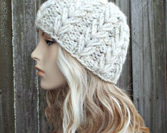 Knit Hat Womens Hat Mens Hat - Wheat Cream Tweed Beanie - Thick Winter Beanie - Gristmill