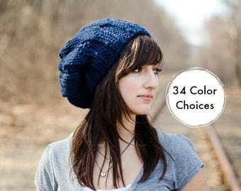 Navy Blue Beret Chunky Knit Hat - Urchin Beret - Blue Knit Hat Blue Hat Blue Beanie Navy Hat Navy Beret Knit Accessories - 34 Color Choices