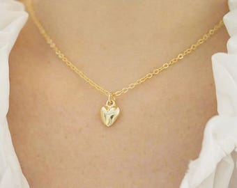 Heart Necklace Gold Heart Necklace Layering Necklace Gold Necklace Simple Heart Necklace Gold Layering Necklace Simple Layering Necklace