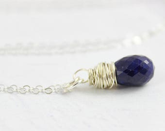 Genuine Sapphire Necklace, Sterling Silver Necklace, Dark Blue Necklace, Sapphire Gemstone Necklace, Wire Wrap, Simple Pendant Necklace