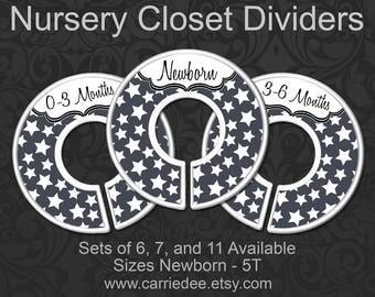 Stars Nursery Closet Dividers, Baby Clothes Organizers, Boy Shower Gift, Random Gray Stars Nursery Decor, gender neutral - Charcoal Grey