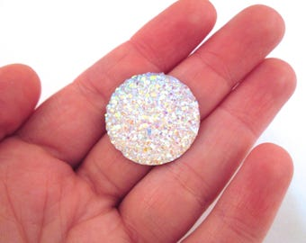 2 Iridescent Clear resin drusy cabochons 24mm, H104
